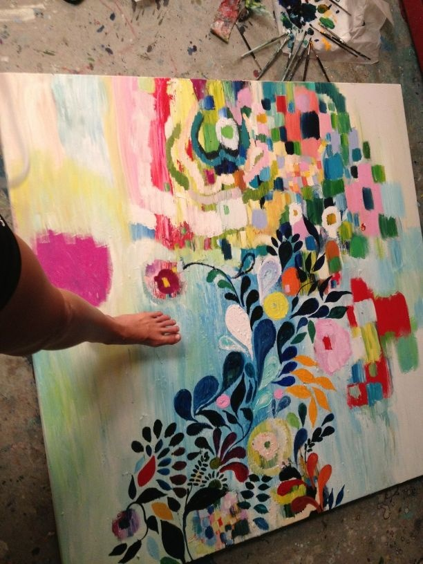 Pinner: New large painting I'm working on...(I like the detail tracking through abstract geometric shapes.)