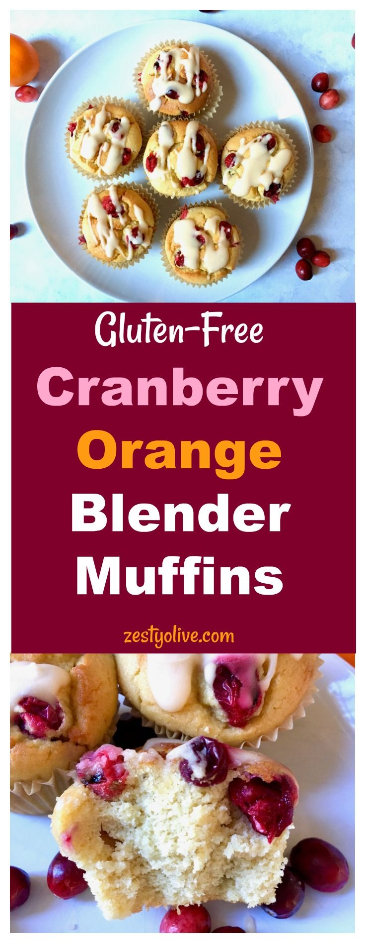 Gluten-Free Cranberry Orange Blender Muffins are an easy and healthy breakfast option or a delicious afternoon snack. #glutenfree #muffins #baking #blender #blenderrecipes #blendermuffins #recipes #cranberries #cranberry #orange