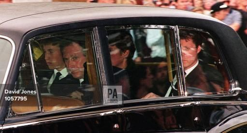 Prince William (left) and Earl Spencer (right) arrive at the Althorp House this afternoon (Saturday). for the burial of Diana, Princess of Wales