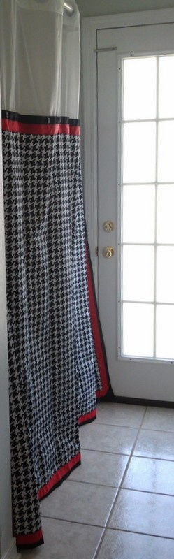 Walmart White Cloth Shower Curtain, With Buttons Sewn Below Bottom Of Sheer  Part, I