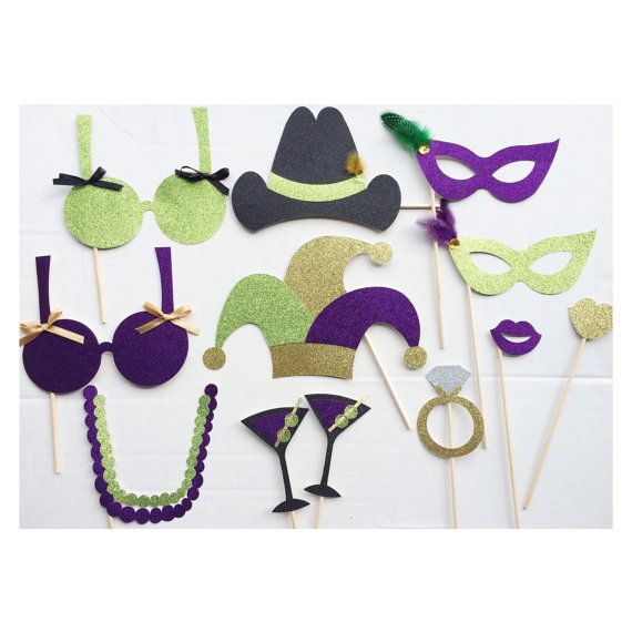 This listing comes with the following 12 Mardi Gras bachelorette photo booth props, made from sturdy glitter card stock:    -1 jester hat: