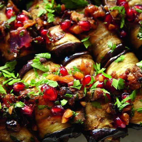 Vegan Eggplant rolls with walnuts