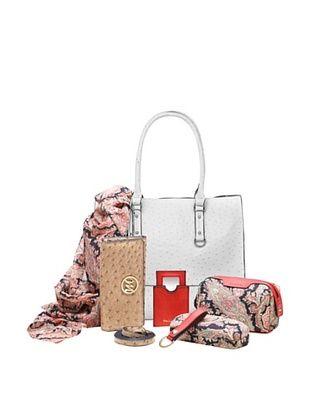 61% OFF Emilie M. Women's Kimberley Ostrich Tote + Essentials Box, White Ostrich