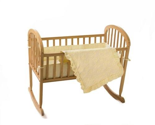 Teddy Bear Terry Cradle Set Rocking Bassinet Wood Crib