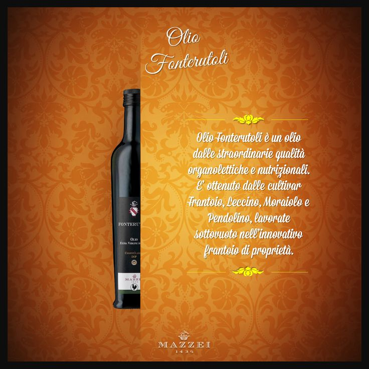 OLIO FONTERUTOLI - Fonterutoli Oil has exceptional organoleptic and nutritional qualities. It is obtained from Frantoio, Leccino, Moraiolo and Pendolino farm and processed in the innovative oil mill owned by Mazzei. @marchesimazzei #winegallery #marchesimazzei #fonterutoli #wine #tuscany #winelovers