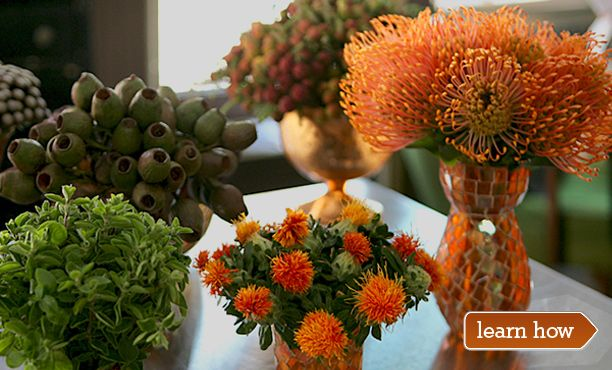 Florist Michael George's contemporary harvest-themed tablescape for Thanksgiving