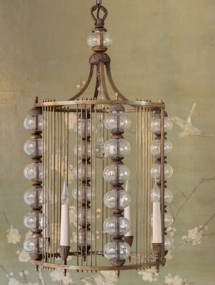 Spanish brass and glass hanging lantern.