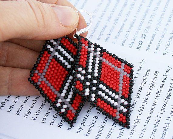 red earrings tartan earrings scottish tartan diamond