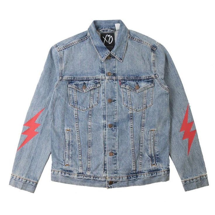 */ DESIGNED BY XO. LEVI'S CLASSIC DENIM JACKET FEATURING ARTWORK SCREENPRINT AND EMBROIDERED PATCHWORK ON BACK AND SLEEVES. Item is expected to ship on or around January 2.