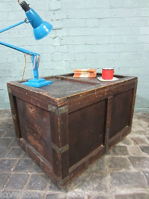 Wooden Vintage Railway Steamer Trunk Crate Shipping Box Storage Coffee Table | eBay