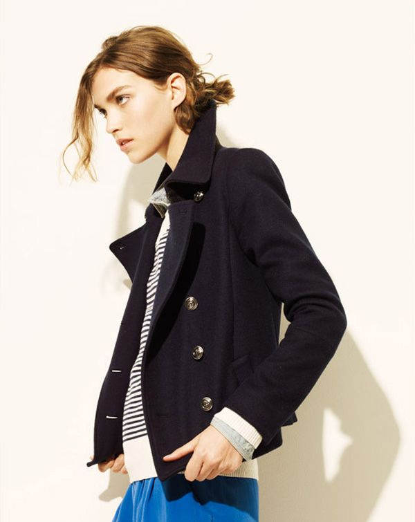 Madewell layered blazer, stripes, blue pants