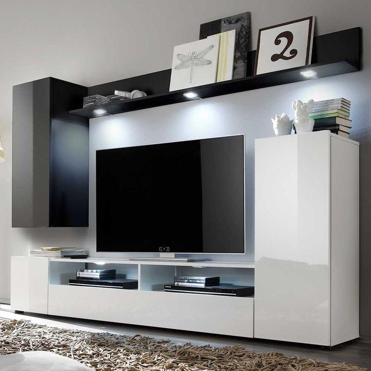 Vintage TV Wohnwand in Schwarz Wei Hochglanz Jetzt bestellen unter https moebel ladendirekt de wohnzimmer schraenke wohnwaende uid udadcdba ffe c ab