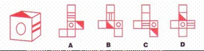 Exercise for your occipital lobes: The box pictured here has been folded together from one of the 4 choices given. Which one?