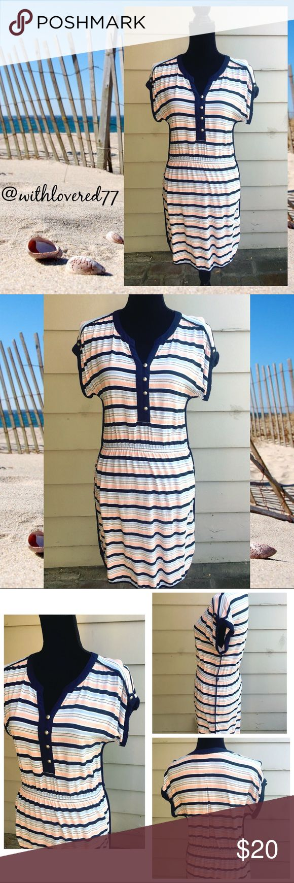 Tommy Hillfiger Striped Dress 👗 SZ S/P Tommy Hillfiger Striped Dress 👗 SZ S/P 👗 Material Rayon 👗 Colors Of Navy Blue, Light Blue, White and Peach 👗 Missing Belt String 👗 Perfect For That Vacay To A Coastal Town, For A Walk On The Beach, For A Sunday Tea Party, For A Day On The Boat 🚣♀️ Super Cute! Tommy Hilfiger Dresses