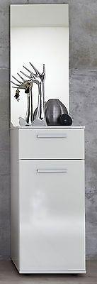 Garderobe Flurmöbel Set weiß Glanz Garderobenset mit Kommode und Spiegel Modul