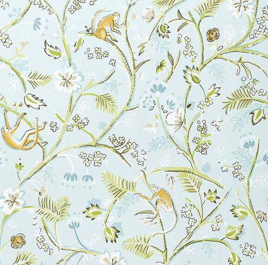Guadeloupe Floral Wallpaper Light Blue Wallpaper With Wild Jungle Fauna  Design In Pale Green And Pale Blue, Complete With The Odd Monkey!