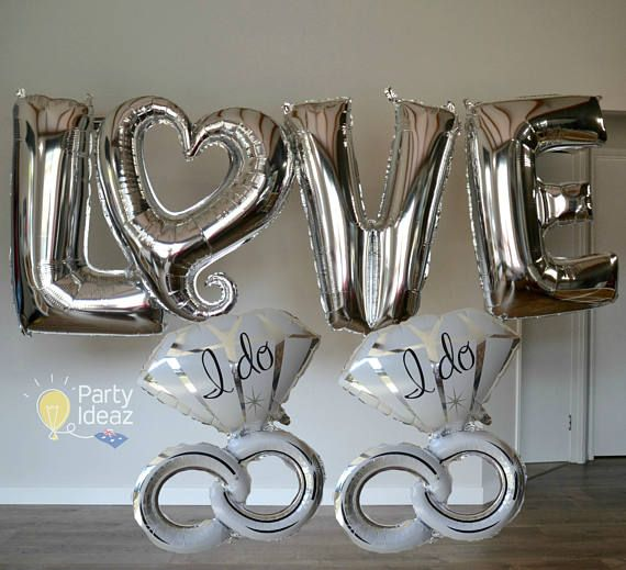 Unique Engagement Party Decorations are a great way to get the Celebrations started. Our silver Love & Heart Balloons go beautifully with the Engagement Ring Balloons. You can choose to either have 1 or 2 of the Engagement ring I Do balloons, one either side creates a nice display.  The 40 LOVE and Heart balloons can be filled with helium and air except for the Heart shaped balloon which can only be filled with air. The LOVE balloons in the images on this listing were filled with air. The...