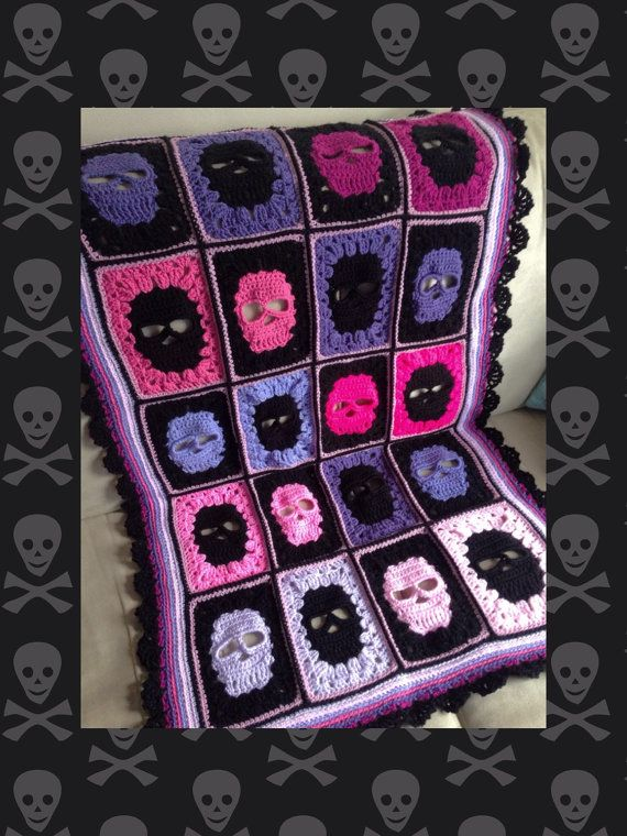 A crochet skull blanket is a must have for any skull lovers bedroom! We are a family who enjoys heavy metal so we think this skull blanket would be great for a kids bedroom, college room or teen room. * Made to order * please note, February and March are fully booked. This listing is for the single or twin size, which measures approximately 59 inches wide by 85 inches tall. You can choose the colours from those listed, or select custom and add a note with your order to specify the colours…