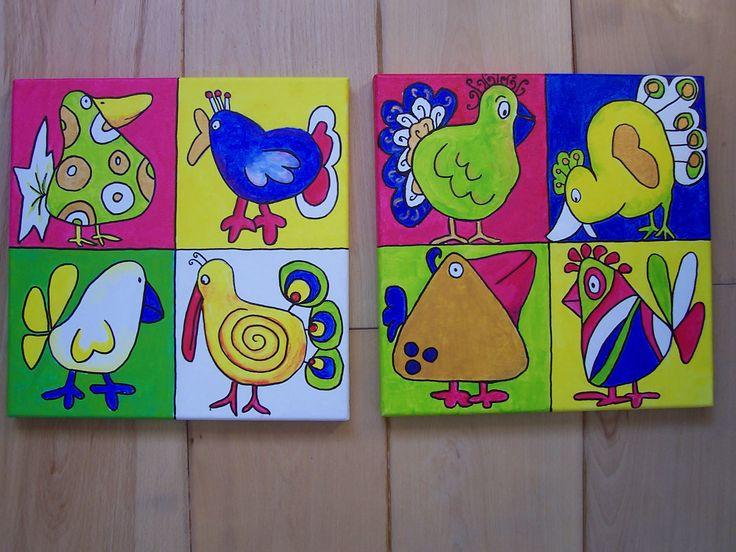 rare vogels / felgekleurde kippen Pasen