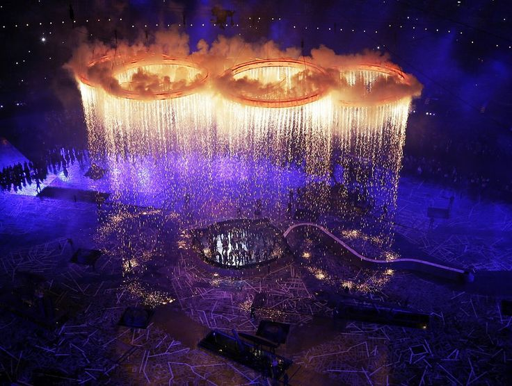 The Olympic rings light up the stadium during the Opening Ceremony at the 2012 Summer Olympics in London.