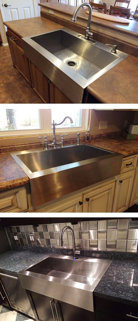 Here are three ways Home Depot customers have included this beautiful farmhouse-style stainless steel sink in their kitchens.