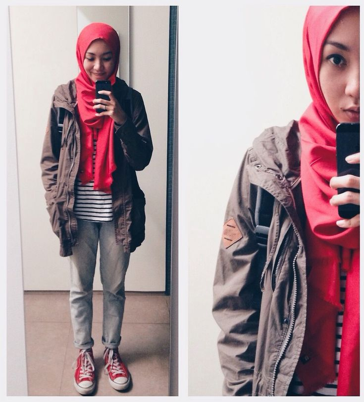 #hijab #pashmina #scarf #red #parka #stripes #boyfriendjeans #denim #casual #sneakers #converse #hijabindonesia