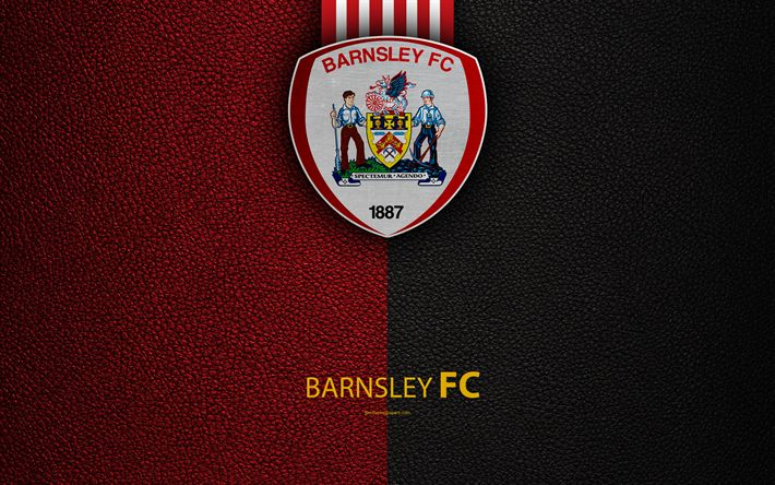 Download wallpapers Barnsley FC, 4K, English Football Club, logo, Football League Championship, leather texture, Barnsley, UK, EFL, football, Second English Division