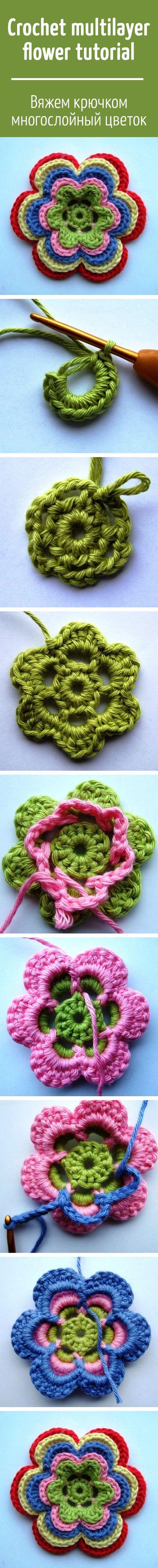 Crochet multilayer flower tutorial / Вяжем крючком многослойный цветок
