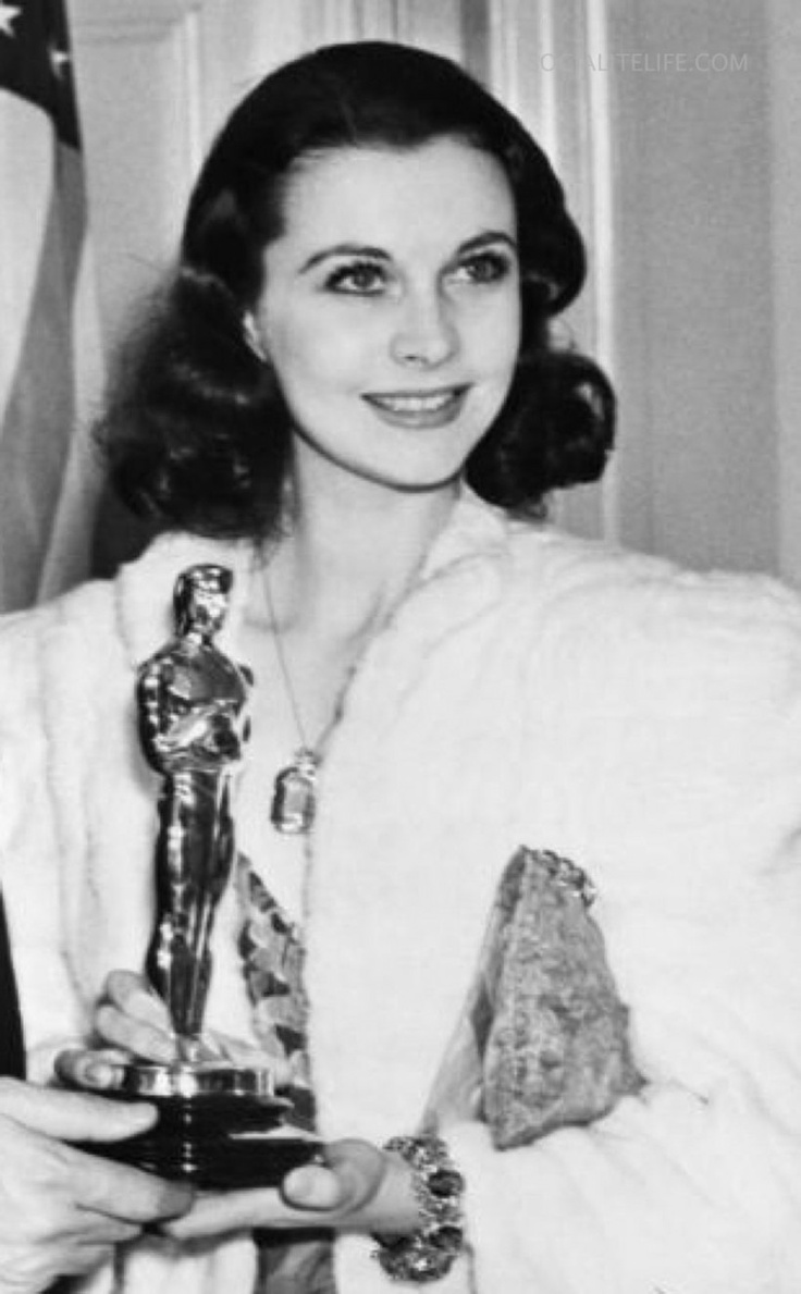 "Vivien Leigh with her richly deserved Academy Award for Best Actress for ""Gone With the Wind."" She would win her second Best Actress award for ""A Streetcar Named Desire."""