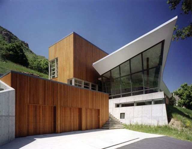 17 best images about homes modern sloping roof on for Utah home design architects
