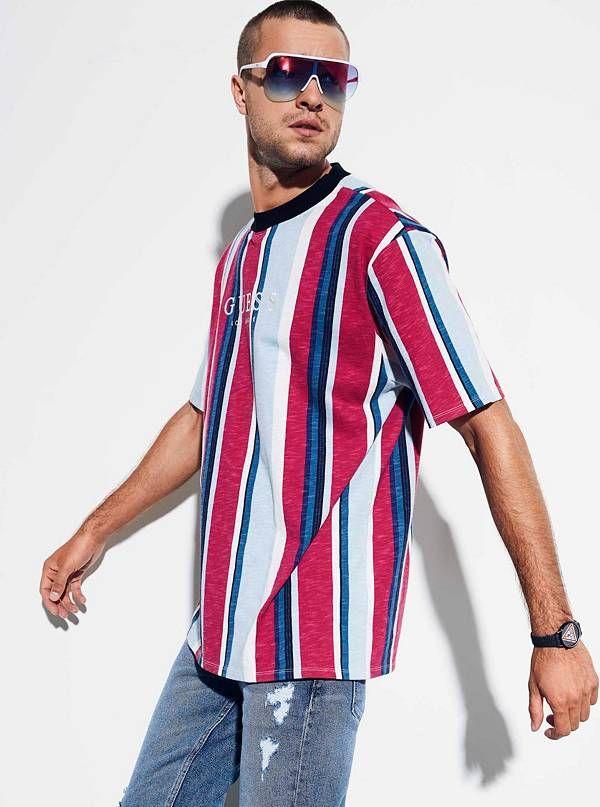 ea6d0f214310 M81P85R5DD2-P6E4 | Tshirts in 2019 | Striped tee, Men, Guess shirt