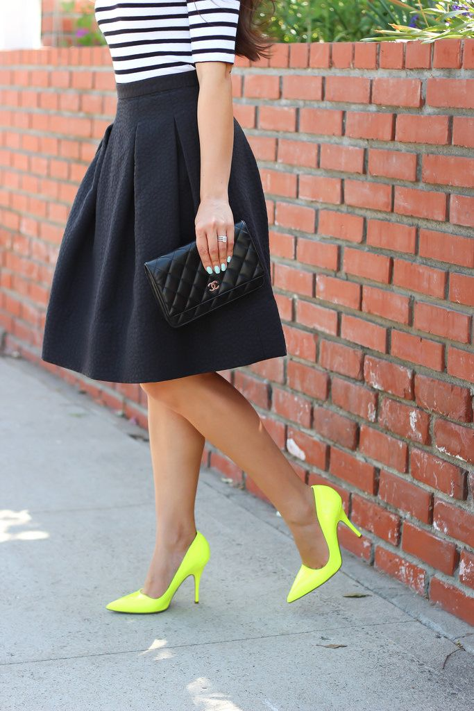 Neon Yellow pumps,striped top with black pleated skirt, black Chanel purse // Click on the following link to view all photos and details: http://www.stylishpetite.com/2014/06/neon-yellow-and-stripes.html