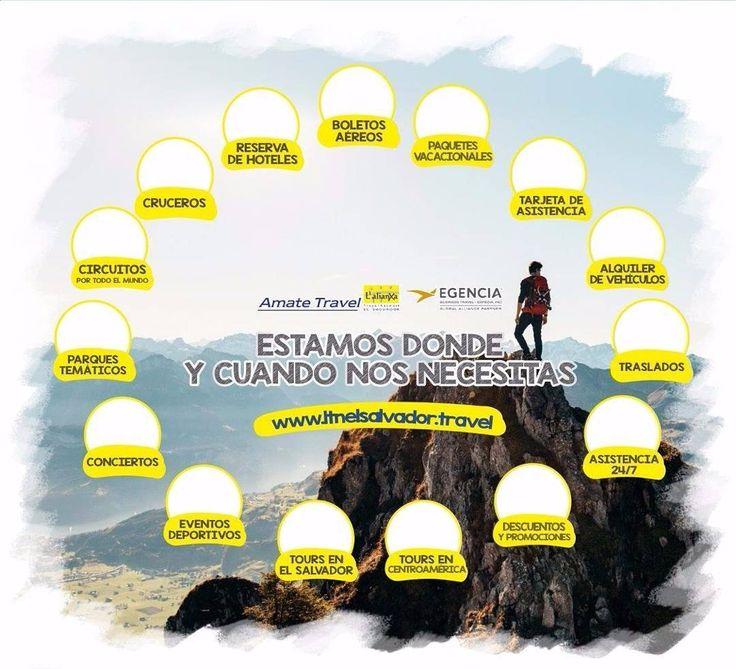 Somos tu mejor opciom en Agencia de Viajes todo lo que buscas lo encuentras con nosotros. Llamanos al 25107675. Hacemos realidad tus viajes. Te ofrecemos Boletos Aereos paquetes vacacionales hoteles traslados servicio 24/7 cruceros circuitos tarjetas de asistencia alquiler de vehiculos tours conciertos y mas.  #AmateTravel #Experienceamate #Agenciadeviajes #ElSalvador #vacaciones #turismo #viajes #vuelos #hoteles #autos by amatetravel