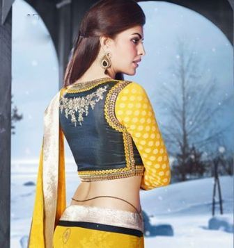 Jacquiline Fernandez Saree's Collection By Saheli Couture 2014-15 For Hot Women