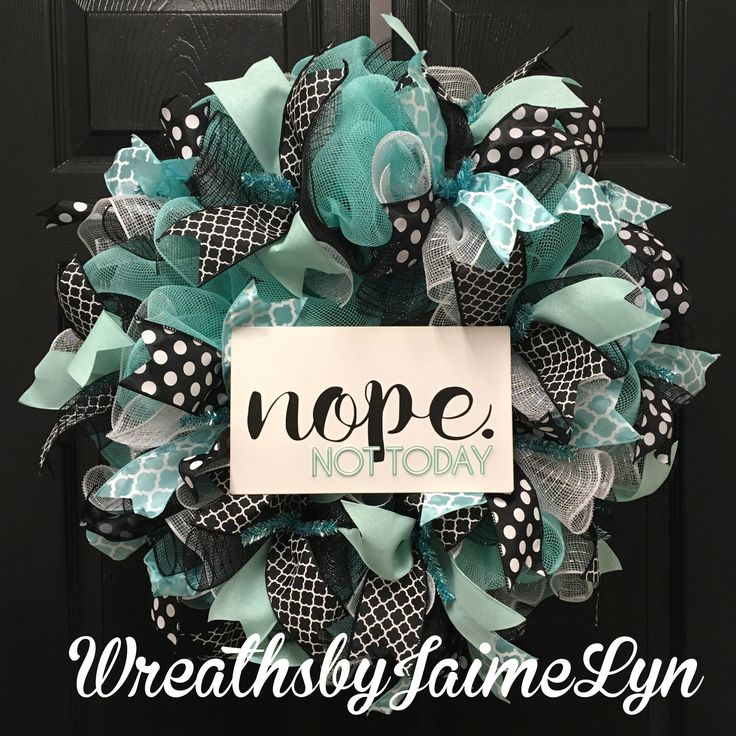 Summer wreath, everyday wreath, nope not today wreath, front door wreath, turquoise wreath by WreathsbyJaimeLyn on Etsy