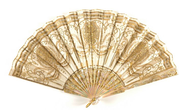 Late 19th to early 20th century, America - Fan retailed by Tiffany & Company, New York - Embroidered and sequined silk; mother-of-pearl sticks and guards with gold inlay