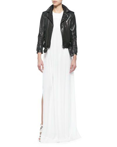 -5Q5U IRO Zerignola Lamb Leather Jacket & Cap-Sleeve Pleated Long Dress