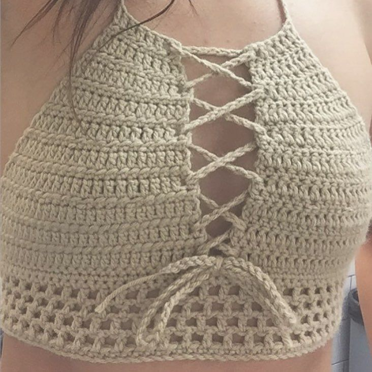 Love this Sahara halter in tan  Get your own off my Etsy  Etsy link in my bio  #crochetlux #crochettop #handmade #etsy #gypsyfashion #festivalstyle by crochet_lux