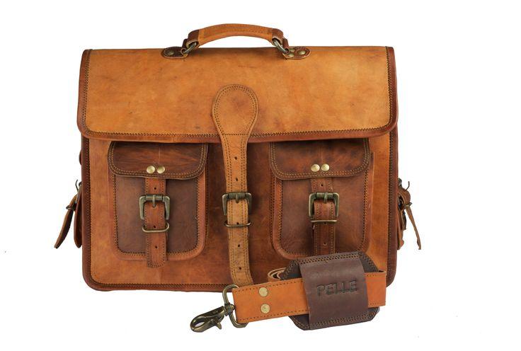 Pelle Handcrafted Leather Messenger Bag, 15inch Mens Work Bag, Handmade Crossbody Bag, Satchel, Carry Bag , Cabin Travel Bag - Craft Shops India