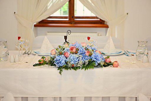 Ružovo-modrá svadobná výzdoba/ Pink and blue wedding decoration