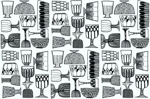 Kippis (14101) - Marimekko Wallpapers - This fun and striking, stylised glass and bowl design will create a statement in your home. Shown here in black and white, but also available in multicolour! Please request sample for true colour match.