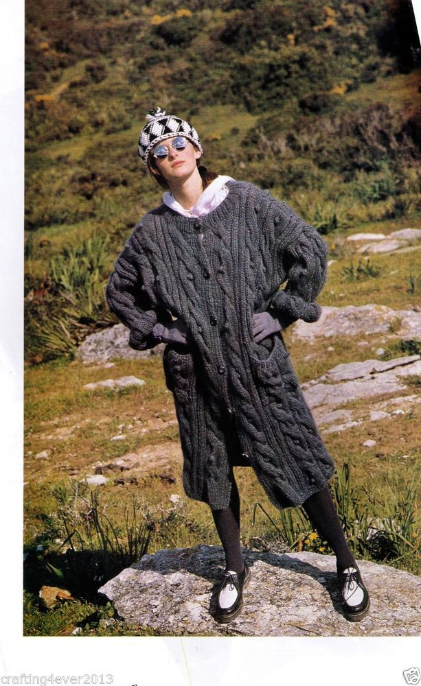 WOMEN'S LONG GREY WINTER CABLE ARAN BAGGY WARM JACKET COAT 8PLY KNITTING PATTERN