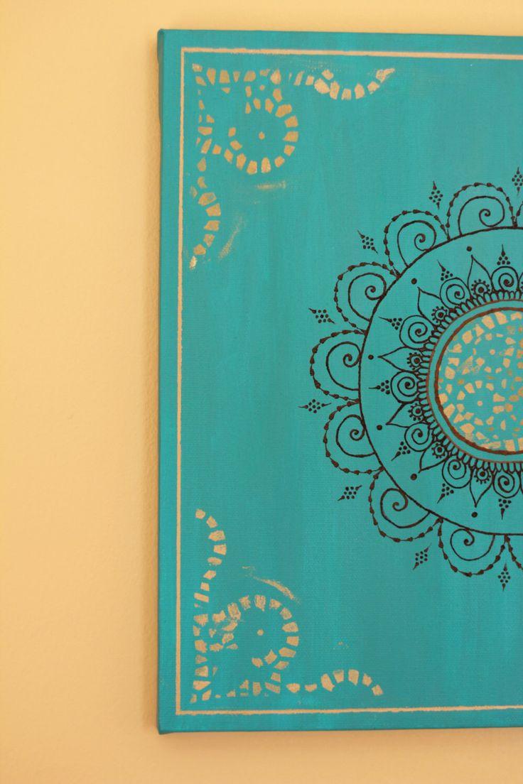 "Teal/Turquoise Mandala Henna Canvas - 12"" X 12"" by PrincessAzmirelda on Etsy https://www.etsy.com/listing/121464227/tealturquoise-mandala-henna-canvas-12-x"