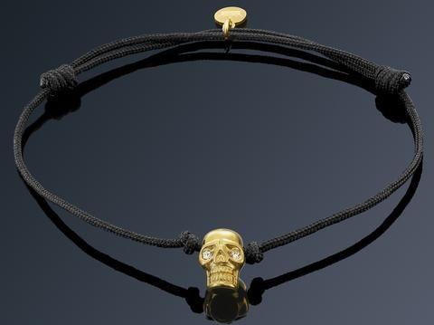Bratara Neagra cu Craniu Placat Aur