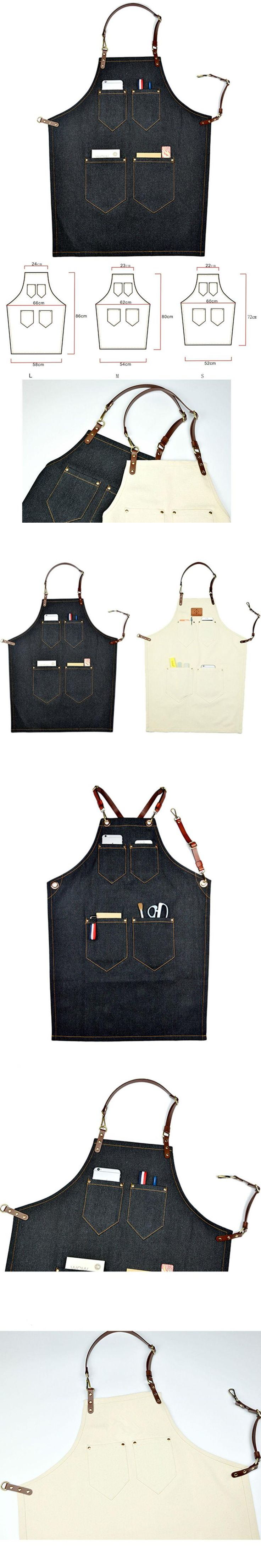 Black Denim/White Canvas Apron w/Leather Straps Barber Barista Florist Cafe Chef Uniform Bistro Baker Craft-men Workwear K49