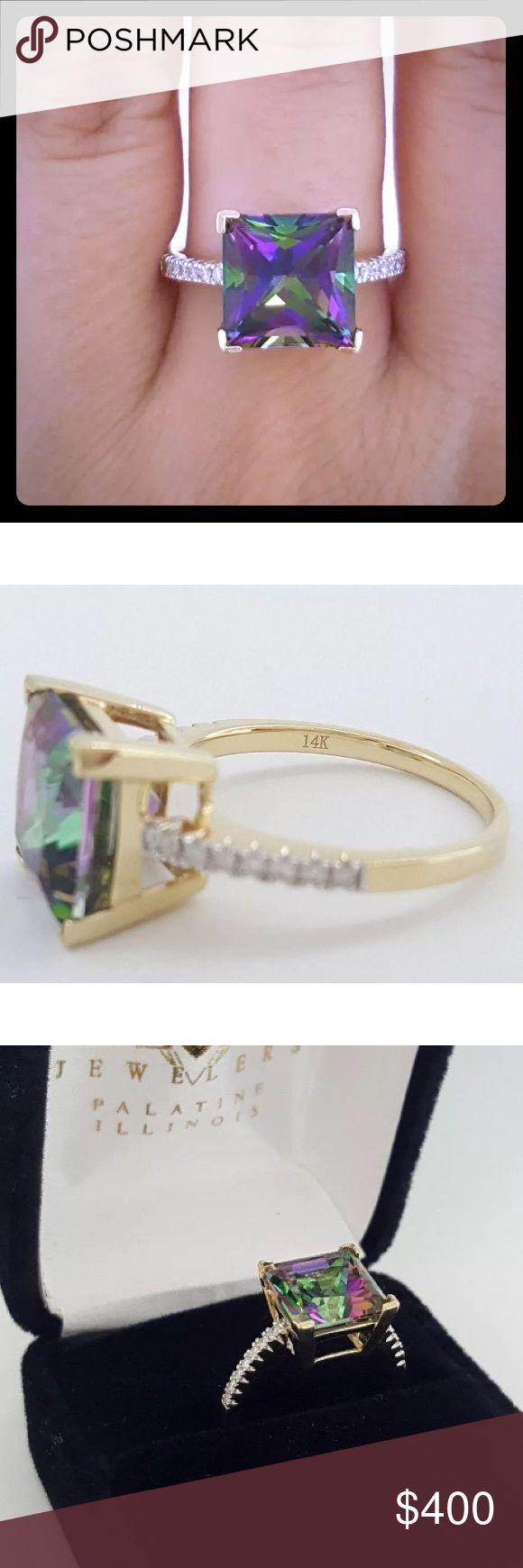 4 carat mystic topaz/0.20 carat diamond ring! 14k 4 carat mystic topaz/0.20 carat diamond ring! 14k yellow gold! Jewelry Rings