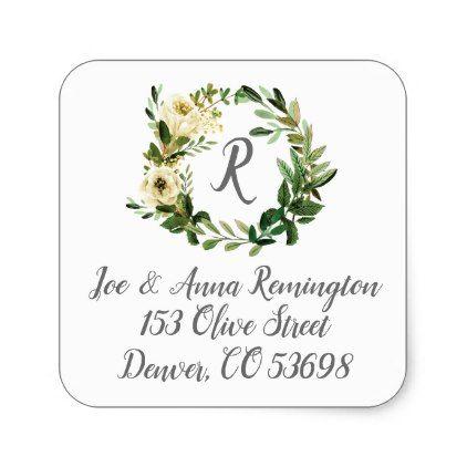Wedding Wreath Return Address Sticker - monogram gifts unique design style monogrammed diy cyo customize