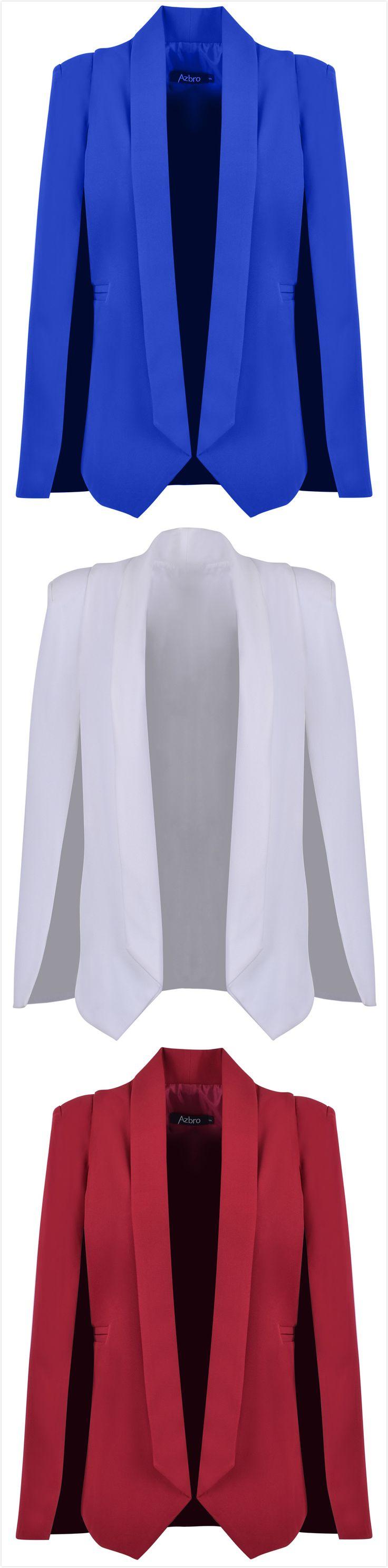 Women's Fashion Solid Shawl Collar Open Front Cape Blazer