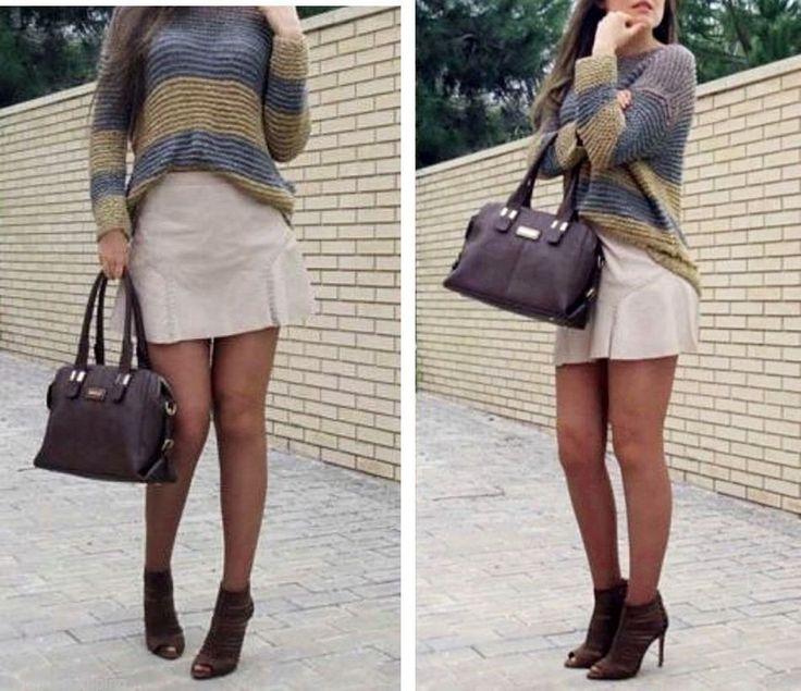 NWT  ZARA Leather Flared Skirt Light Pink/Gray Boho Size M  Ref. 3461/050 #Zara #Mini