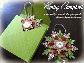 Tiny Kiwi Cards: stampin Up Festive Flurry Ornaments for Sew-Funky Ornament Swap Gorgeous!